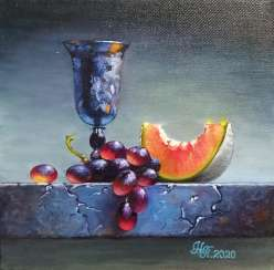 """Still life with a Cup and grapes"""