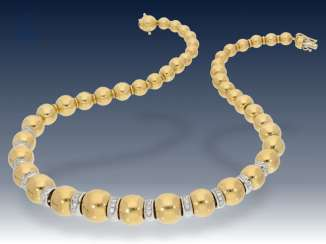Necklace/Collier: very high-quality, formerly very expensive Bicolor Brillant-Collier, 1,24 ct, 18K Gold, probably unique production, NP 14.370 DM