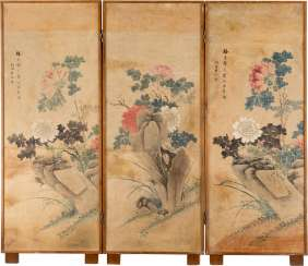 THREE-PART FOLDING SCREEN WITH GARDEN SCENES