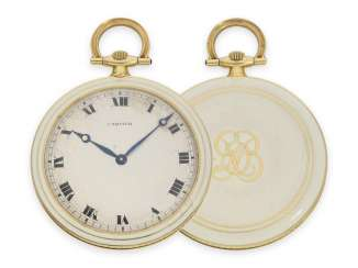 Pocket watch: very fine Gold/enamel-Frackuhr by Cartier, CA. 1920