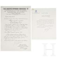 Certificate for the Grand Cross Set of the Colonial Order of the Star of Italy