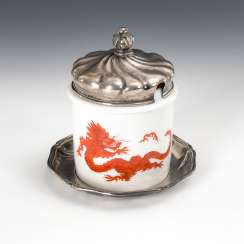 Mustard pot Meissen with silver lid and Presentoir,.