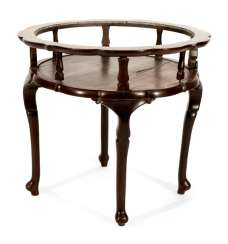 Round game table with cut out for glass panel