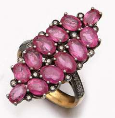 Russian marquise ring with rubies