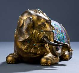 Fire sun gold-plated elephant made of Bronze with Cloisonné-decor a saddle bag