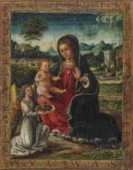 Gerard David, Imitation, Mary with the child and an angel in front of a landscape background.