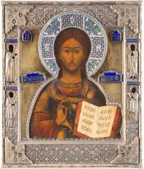 ICON WITH CHRIST PANTOKRATOR WITH ENAMELED VERMEIL-RIZA