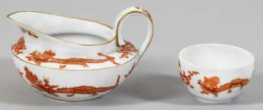 "Cream jug and cup with ""Red Dragon"" decor"