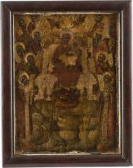 A VERY FINE SIGNED ICON OF THE MOTHER OF GOD 'THE PROPHETS HAVE ANNOUNCED YOU' Hilarios Monachos