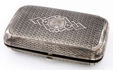 Cigarette case with engraved decoration and monogram