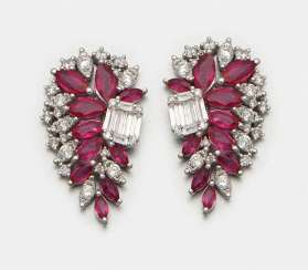 Pair of glamorous 1940s style ruby earrings