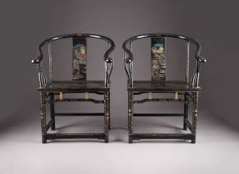 PAIR OF CHAIRS WITH SCENIC DECOR