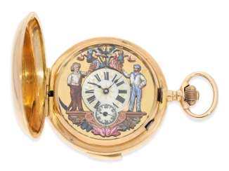 Pocket watch: heavy red-gold Savonnette with Repetition and automatic, Switzerland around 1900