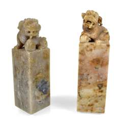 TWO SOAPSTONE SEALS, CHINA