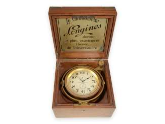 Marine chronometer: exquisite, small and very rare Longines 8-day marine chronometer No. 4131989, built in 1924