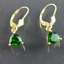 Earrings: green tourmalines, Yellow Gold 585, very good.