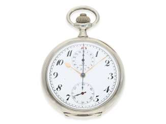 Pocket watch: fine and very rare Omega Chronograph, with some rare 15 minute counter!, Silver, approx 1915