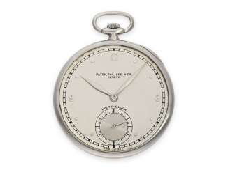 Pocket watch: extremely flat Art Deco Frackuhr of Patek Philippe with an extremely rare double signature, Geneva, CA. 1932