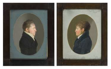 Portrait painter around 1800: Two portraits of men