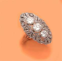 Art Nouveau marquise ring with diamonds