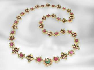 Chain / necklace: highly decorative, opulent antique necklace set with rubies and emeralds, total approx. 173.3 ct, India, Margul, 19th century