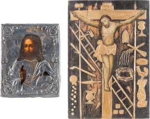 TWO ICONS: CHRIST PANTOCRATOR WITH SILVER OKLAD AND CRUCIFIXION OF CHRIST