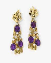 A pair of earrings with amethysts and diamonds Germany