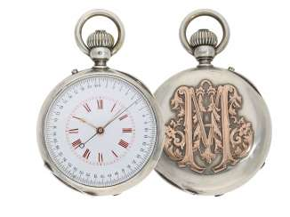 Pocket watch: extremely rare and mysterious Chronograph of high-fine quality, with original box, Gold/silver, probably one of Geneva's Anchor chronometer 1870