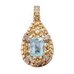 Pendant with aquamarine, approx. 33 ct., cultured pearl and diamonds