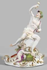 Large porcelain group with Bacchus, the god of wine