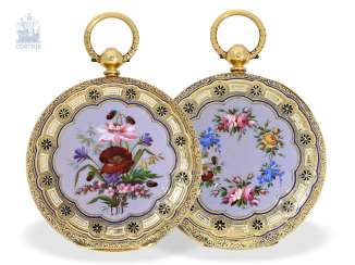 Pocket watch: exquisite English Gold/enamel pocket watch is of very fine quality, London 1865