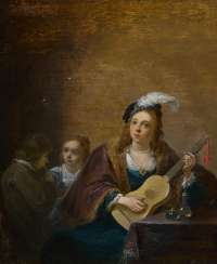 Guitar bubbles, young lady with children at soap