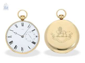 Pocket watch: technically highly interesting and extremely rare pocket watch with Pendant-to-train-lift, seconds and duplex escapement, Viner & Co of London in 1837, former noble possession