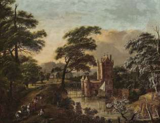 Forest landscape with a castle and figure staffage. Type of Drielenburgh, Willem van
