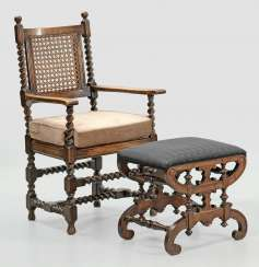 Baroque armchairs and tabouret