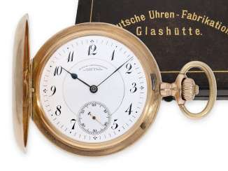 Pocket watch: exceptionally large, A. Lange & Söhne gold savonnette in the original condition with the original box, Glashütte CA. 1905, master excerpt from the book