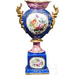 Hand-painted Vase, Russian private manufactory, Russia, mid-19th century. Century