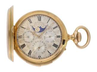 Pocket watch: important highly complicated astronomical Savonnette, Chronometer with minute repeater, perpetual calendar and retrograde date display, Laurent Gostkowski à Genève, formerly employed by Patek Philippe, no. 2450, circa 1877