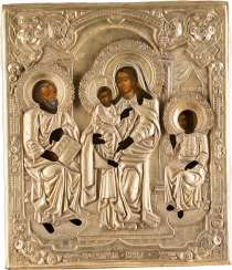 RARE AND LARGE-FORMAT ICON WITH THE HOLY FAMILY WITH OKLAD