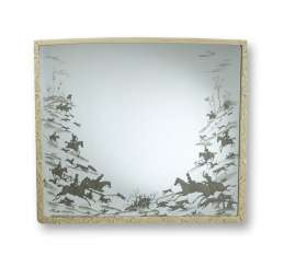 Large mirror with carved and white lacquered frame
