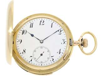 Pocket watch: particularly heavy English gold savonnette with an extremely rare percussion,