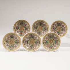 Set of 6 small bowls with yellow rear and symbols of good Luck