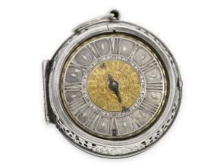Pocket watch: a museum, early one-hand pocket watch with alarm, signed Quare London, around 1690