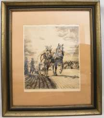 ALEXANDER ECKENER, with a team of horses with plow, etching on paper, signed and dated, 19. Century