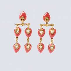 Pair of coral and diamond earrings
