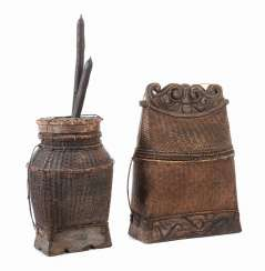 Two old wickerwork containers, probably Southeast Asia
