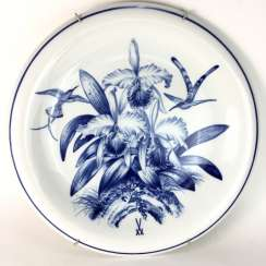The largest plates of the porcelain manufactory Meissen: decor in blue painting (Kolibri and Catleia), Ø 48 cm, 1. Choice, around 1900.