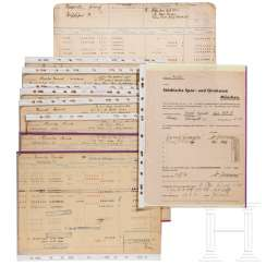 "Opening application and eleven account sheets for Heinrich Himmler's account ""8160 personal staff of the RFSS"""
