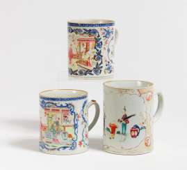 Three tankards with genre scenes and floral decoration