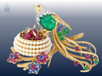 Brooch: beautiful, unique vintage gold-wrought brooch with numerous emeralds/rubies/sapphires/ diamonds and pearls, exceptional goldsmith work,
